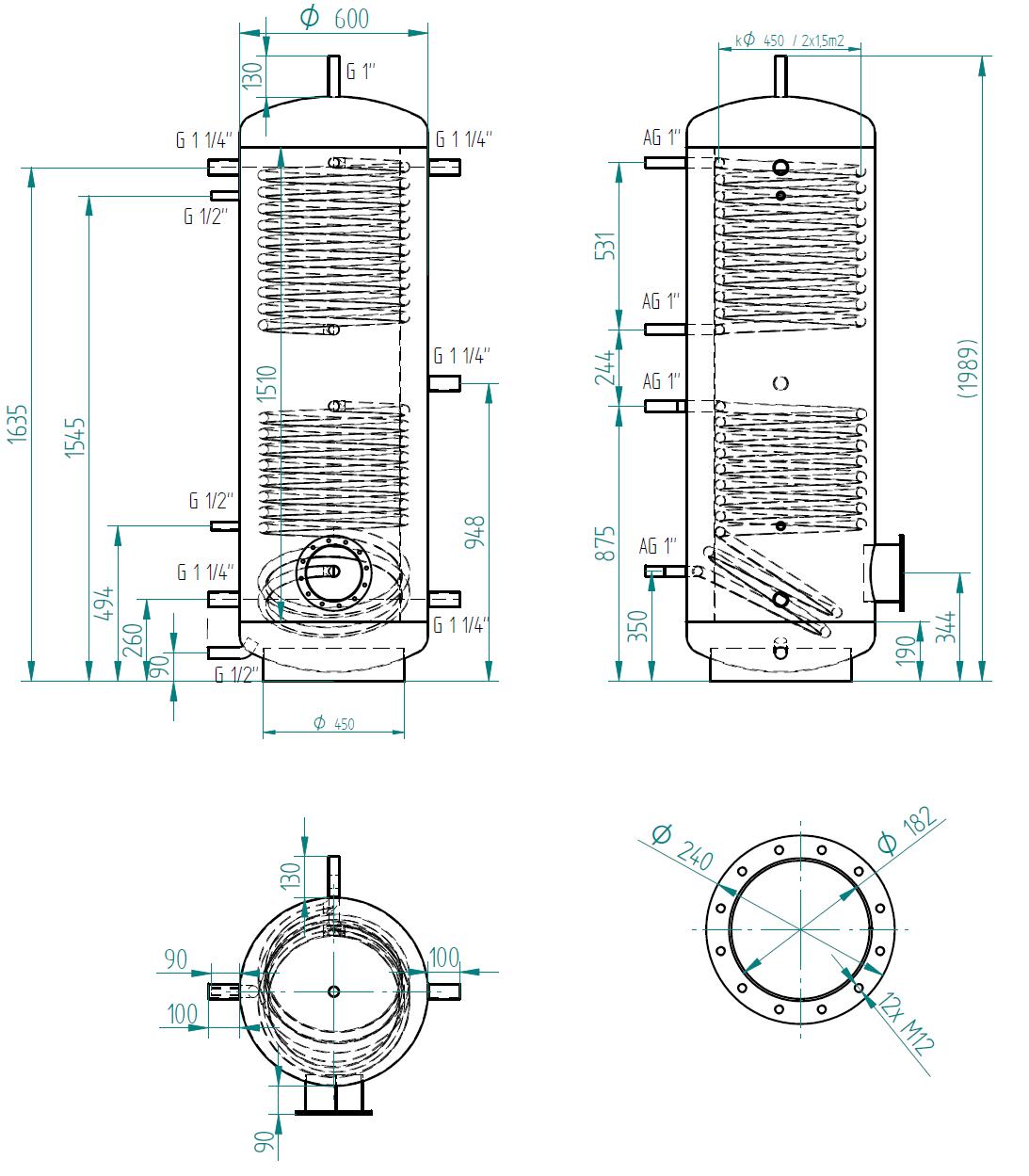 Hot water storage tank 500l se 2 výměníky
