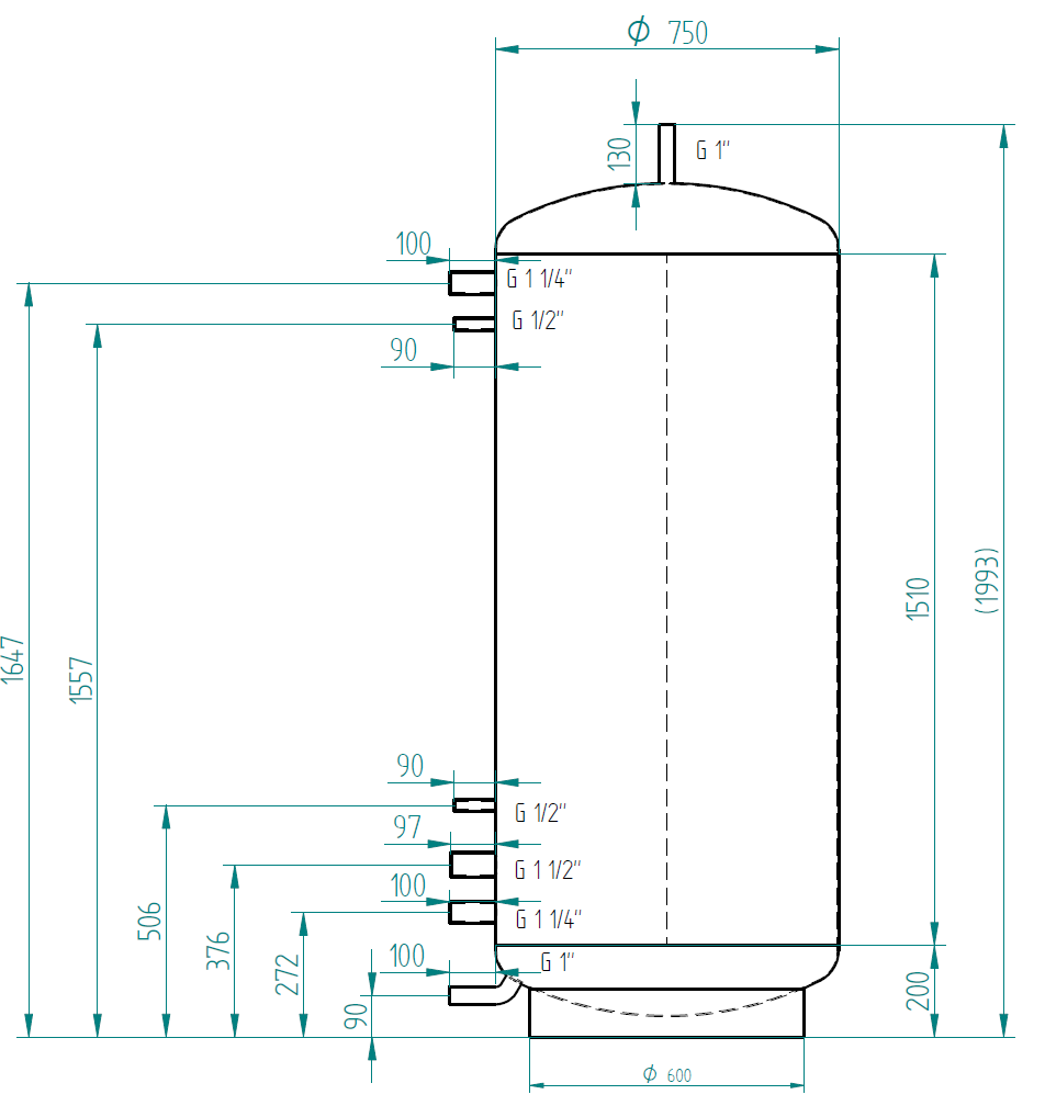 Hot water storage tank 750l without exchanger
