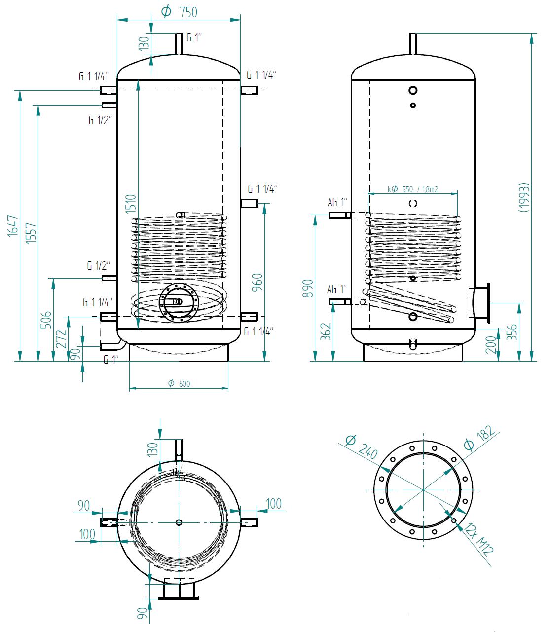 Hot water storage tank 750l s 1 výměníkem