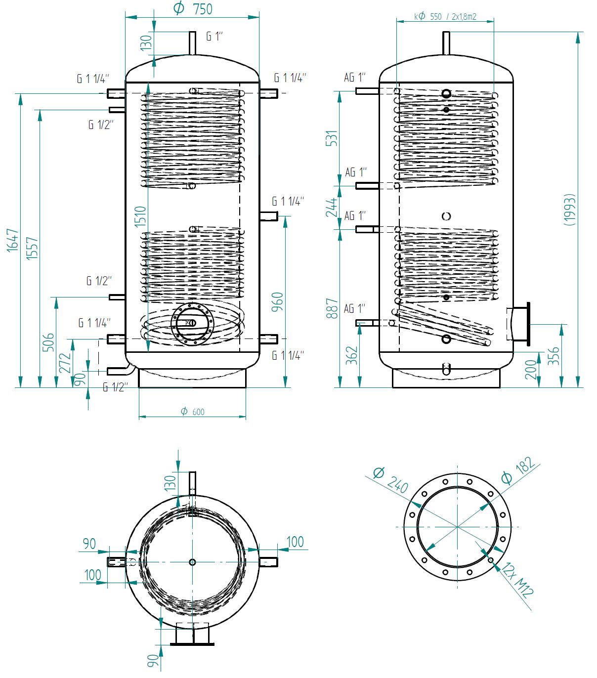 Hot water storage tank 750l se 2 výměníky
