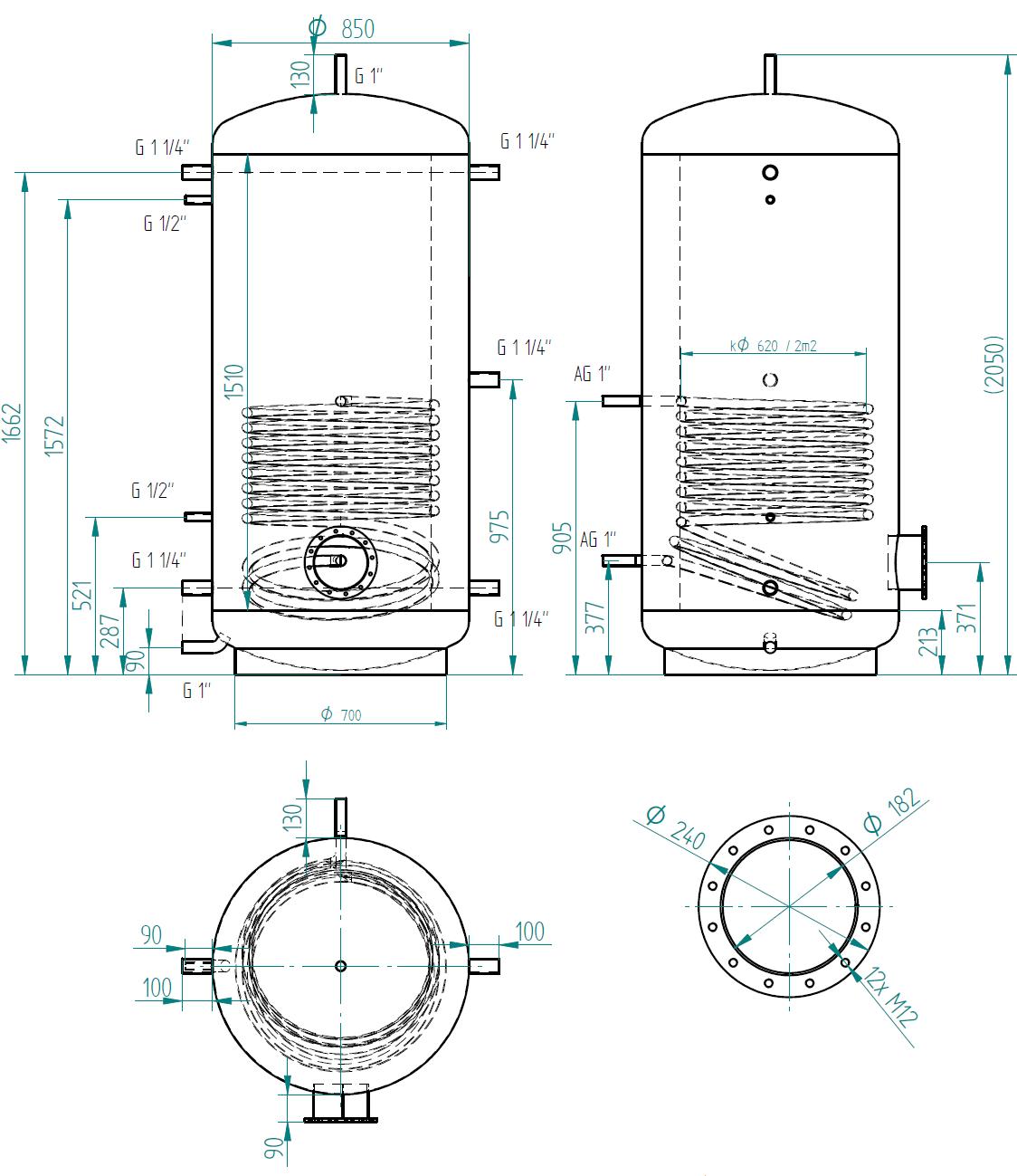 Hot water storage tank 1000l s 1 výměníkem