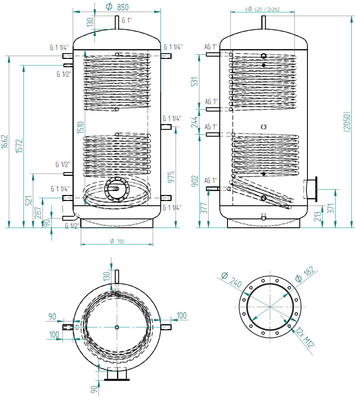 Hot water storage tank 1000l se 2 výměníky