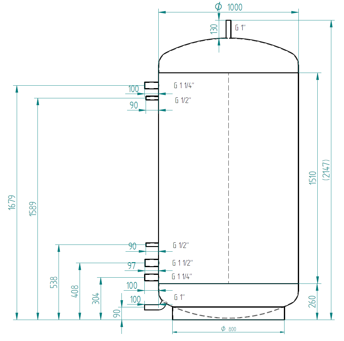 Hot water storage tank 1500l without exchanger