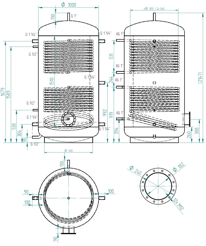 Hot water storage tank 1500l se 2 výměníky