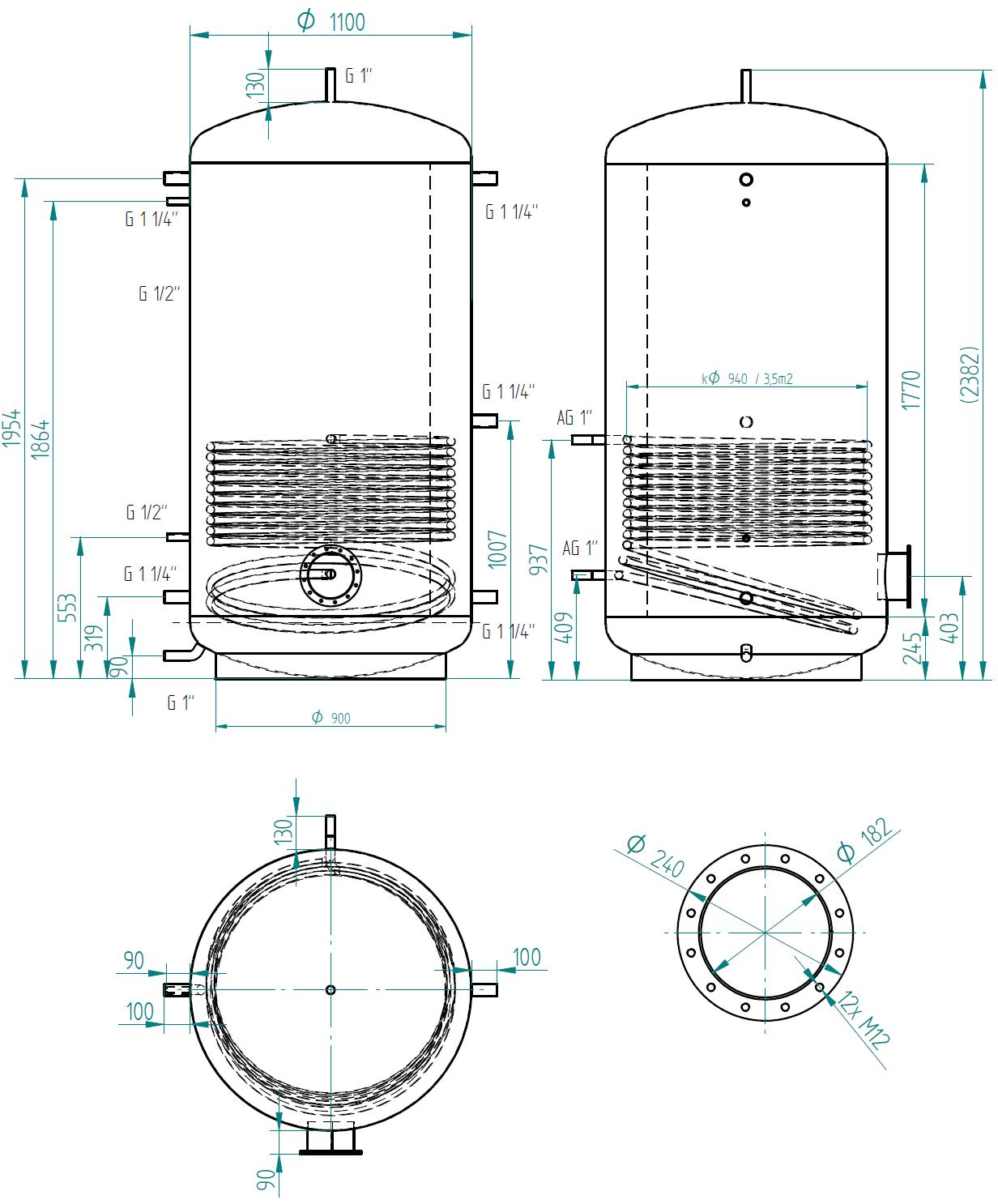 Hot water storage tank 2000l s 1 výměníkem