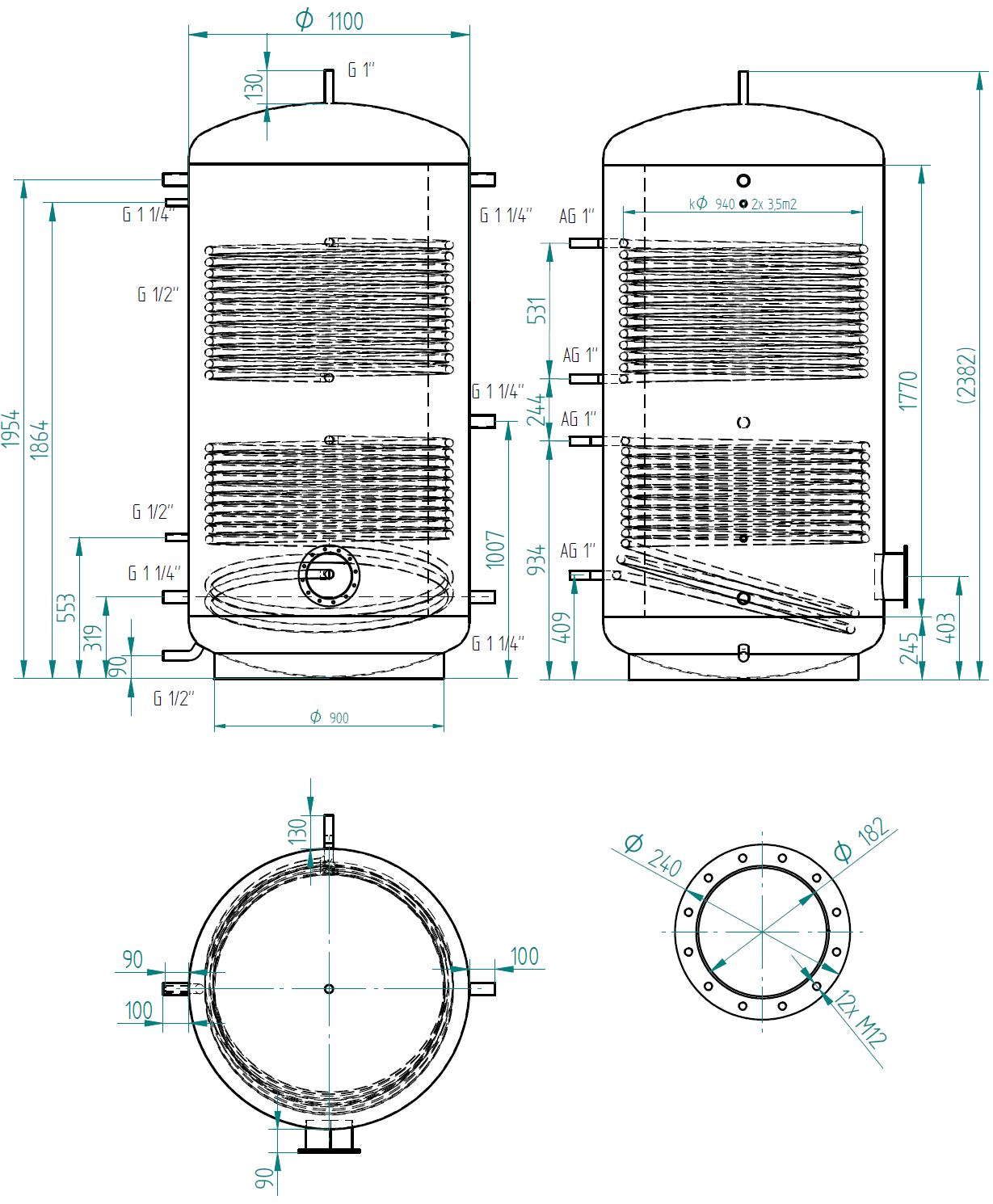 Hot water storage tank 2000l se 2 výměníky