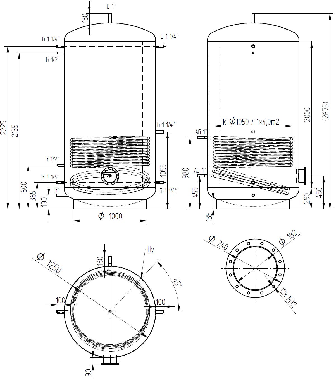 Akumulační nádrž 3000l s 1 výměníkem