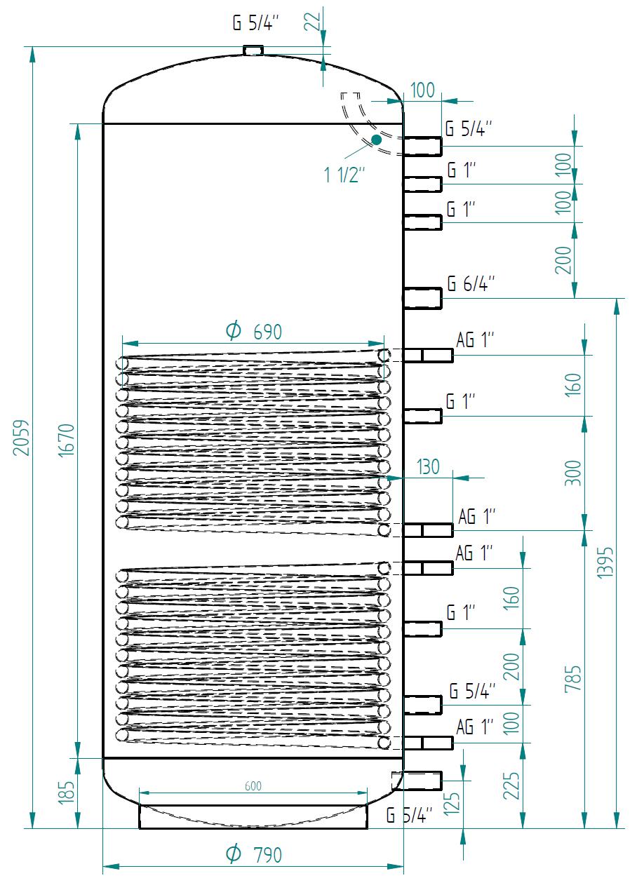 Akumulační nádrž 1000l se 2 výměníky