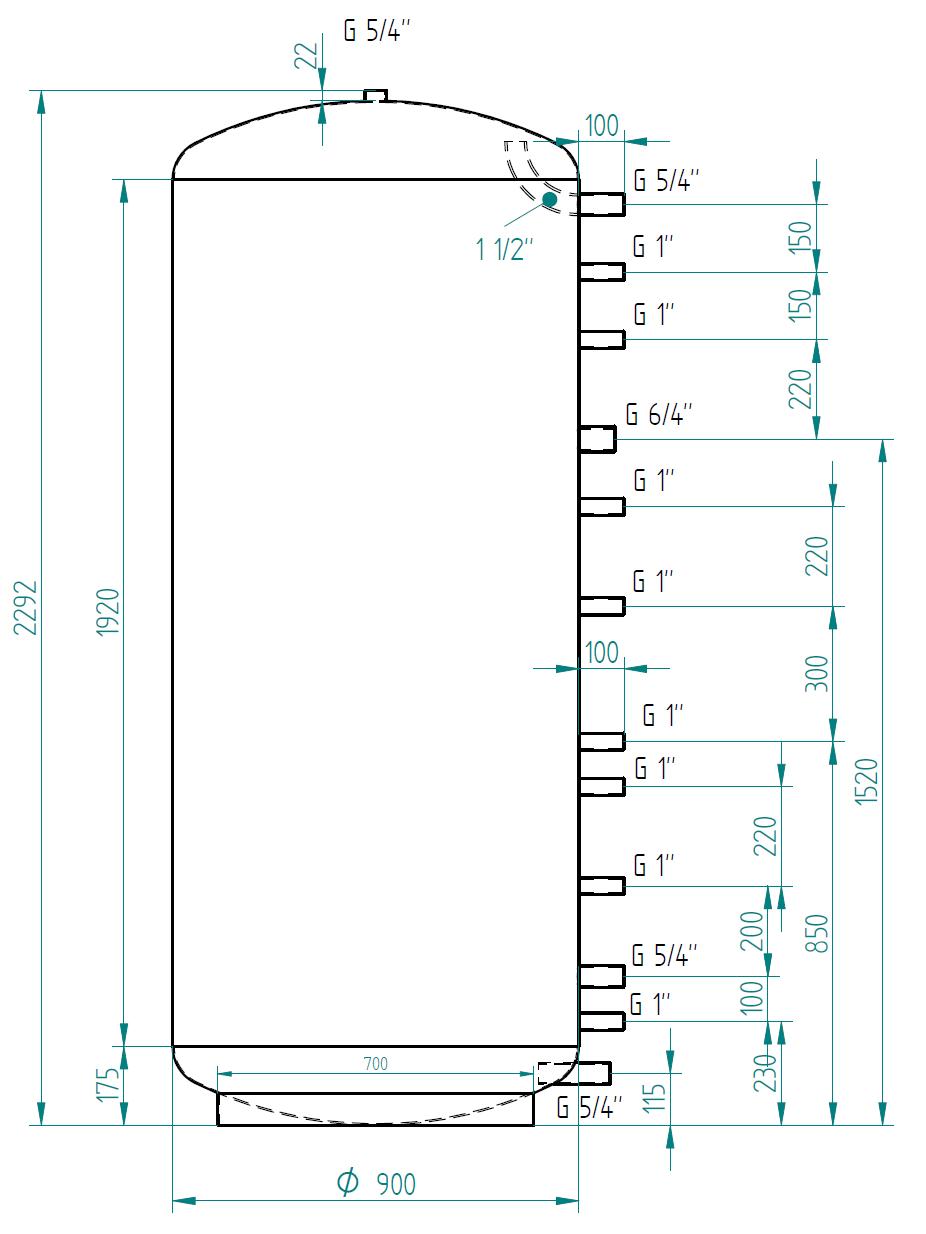 Akumulační nádrž 1500l d900