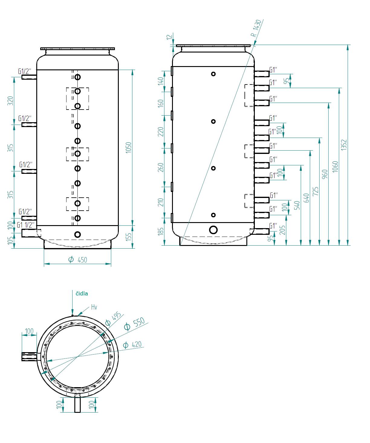 Nákres akumulační nádrže LMT 300l 0V