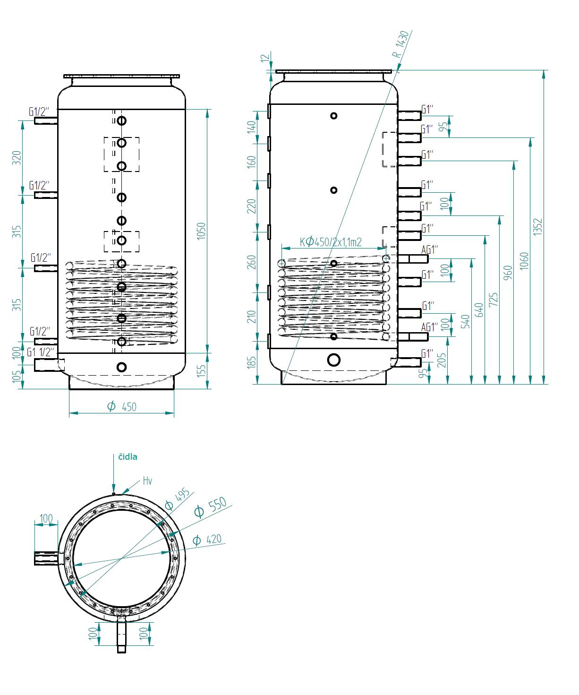 Nákres akumulační nádrže LMT 300l 1V