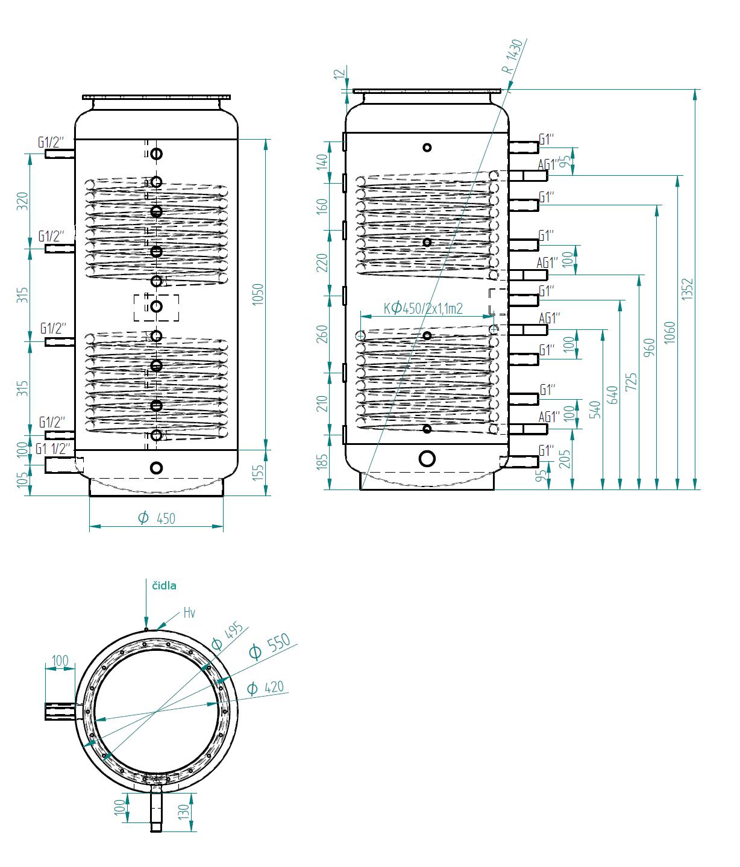 Nákres akumulační nádrže LMT 300l 2V