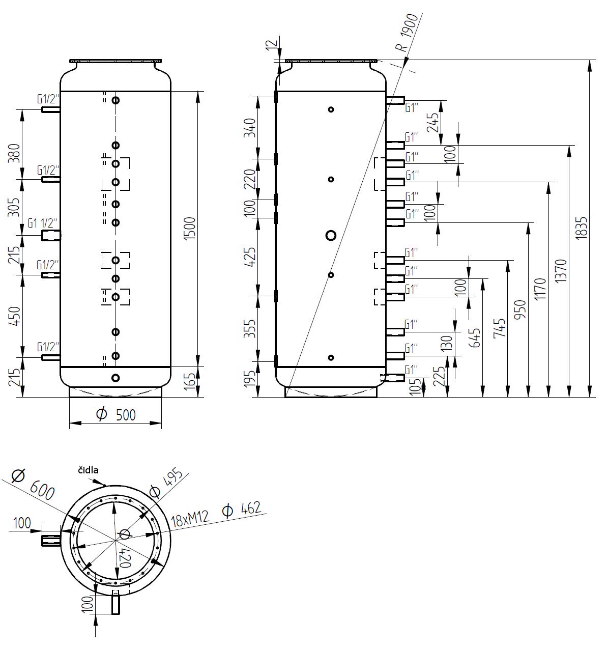 Nákres akumulační nádrže LMT 500l 0V