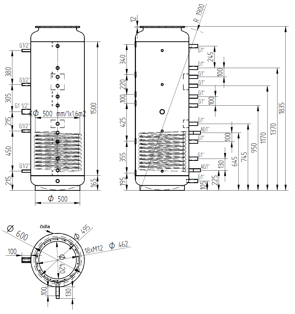 Nákres akumulační nádrže LMT 500l 1V