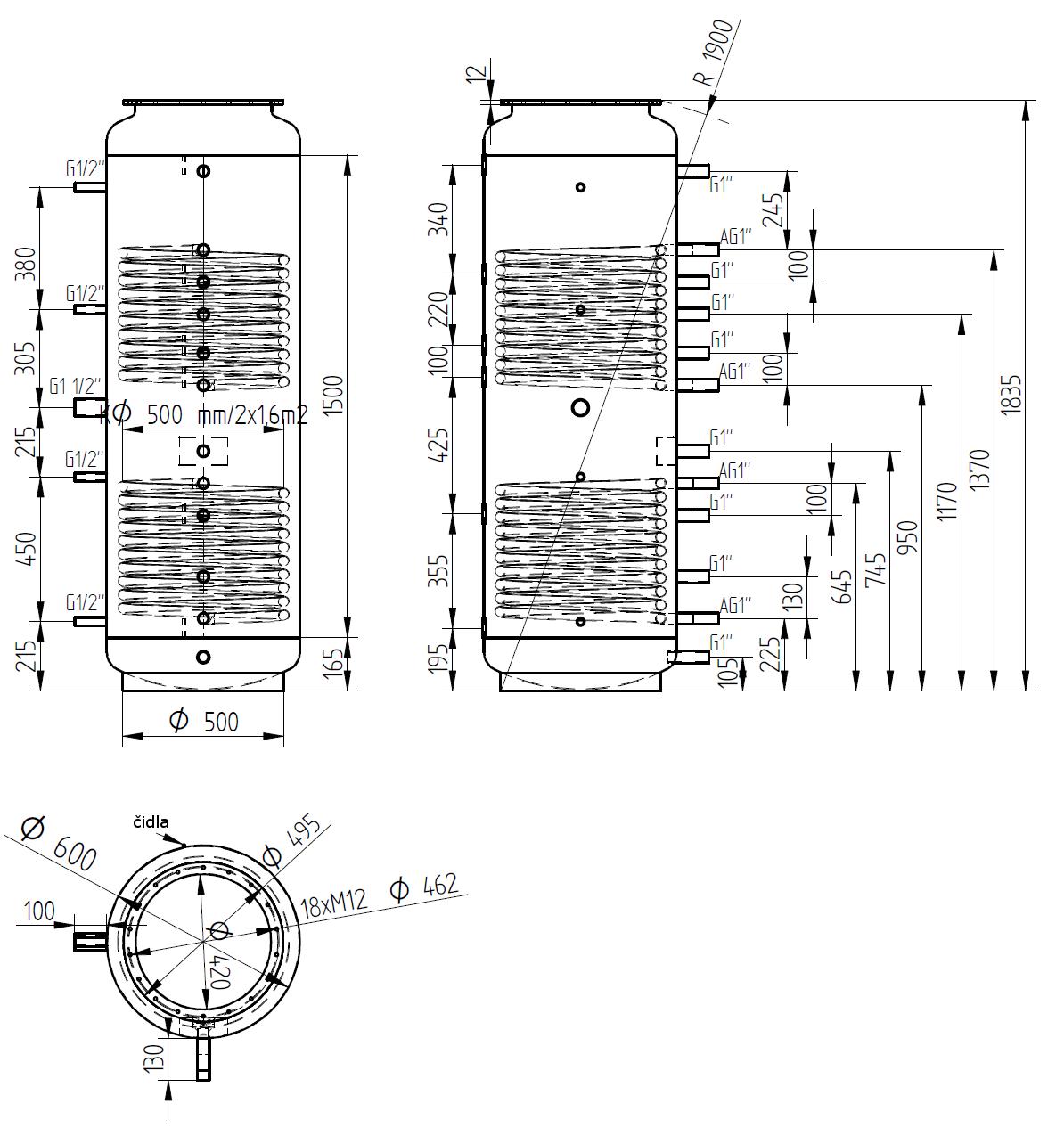 Nákres akumulační nádrže LMT 500l 2V