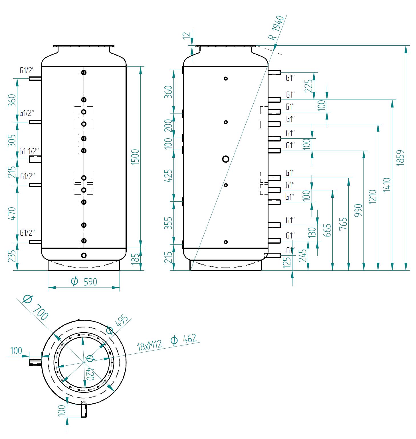 Nákres akumulační nádrže LMT 650l 0V