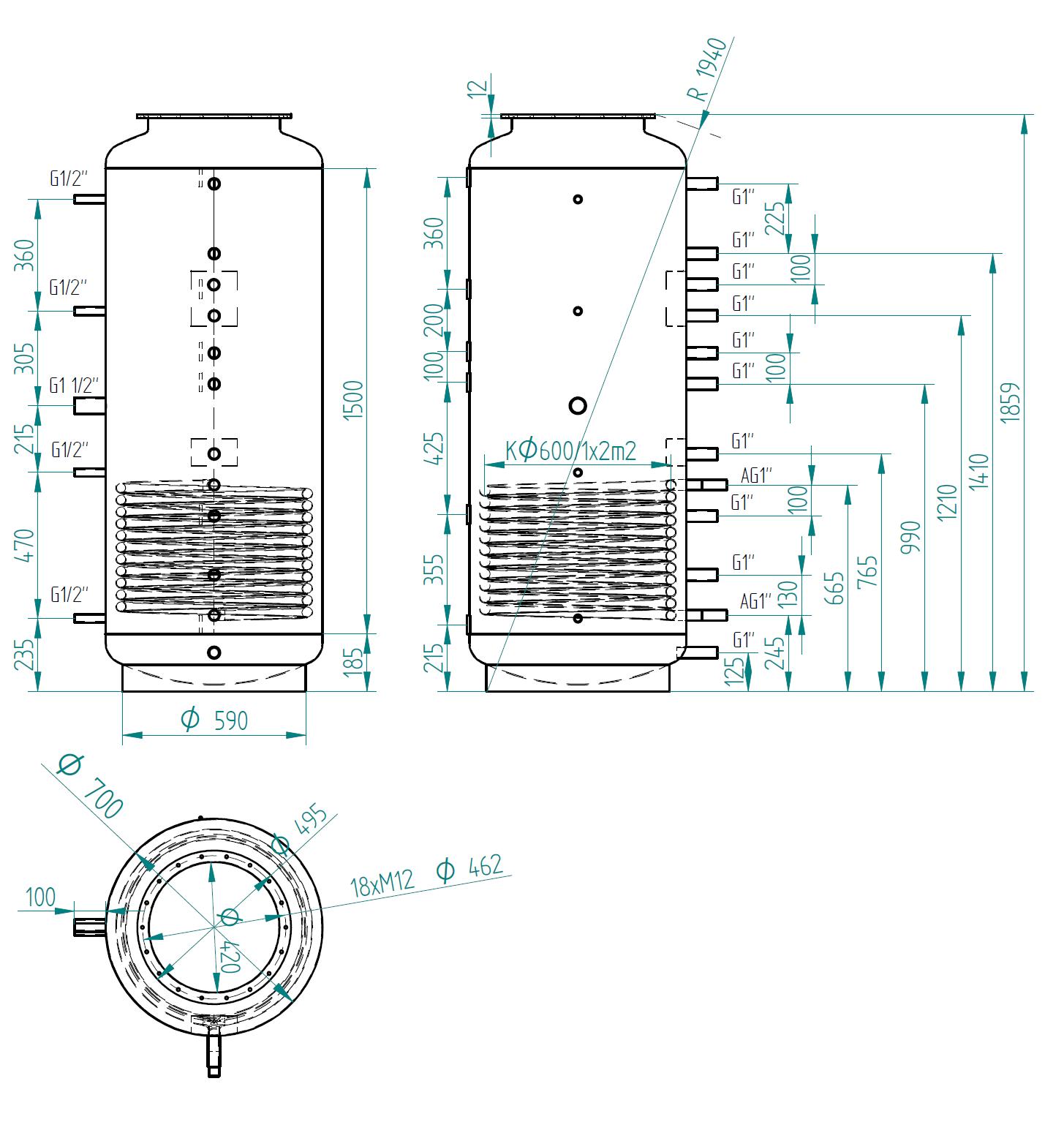 Nákres akumulační nádrže LMT 650l 1V