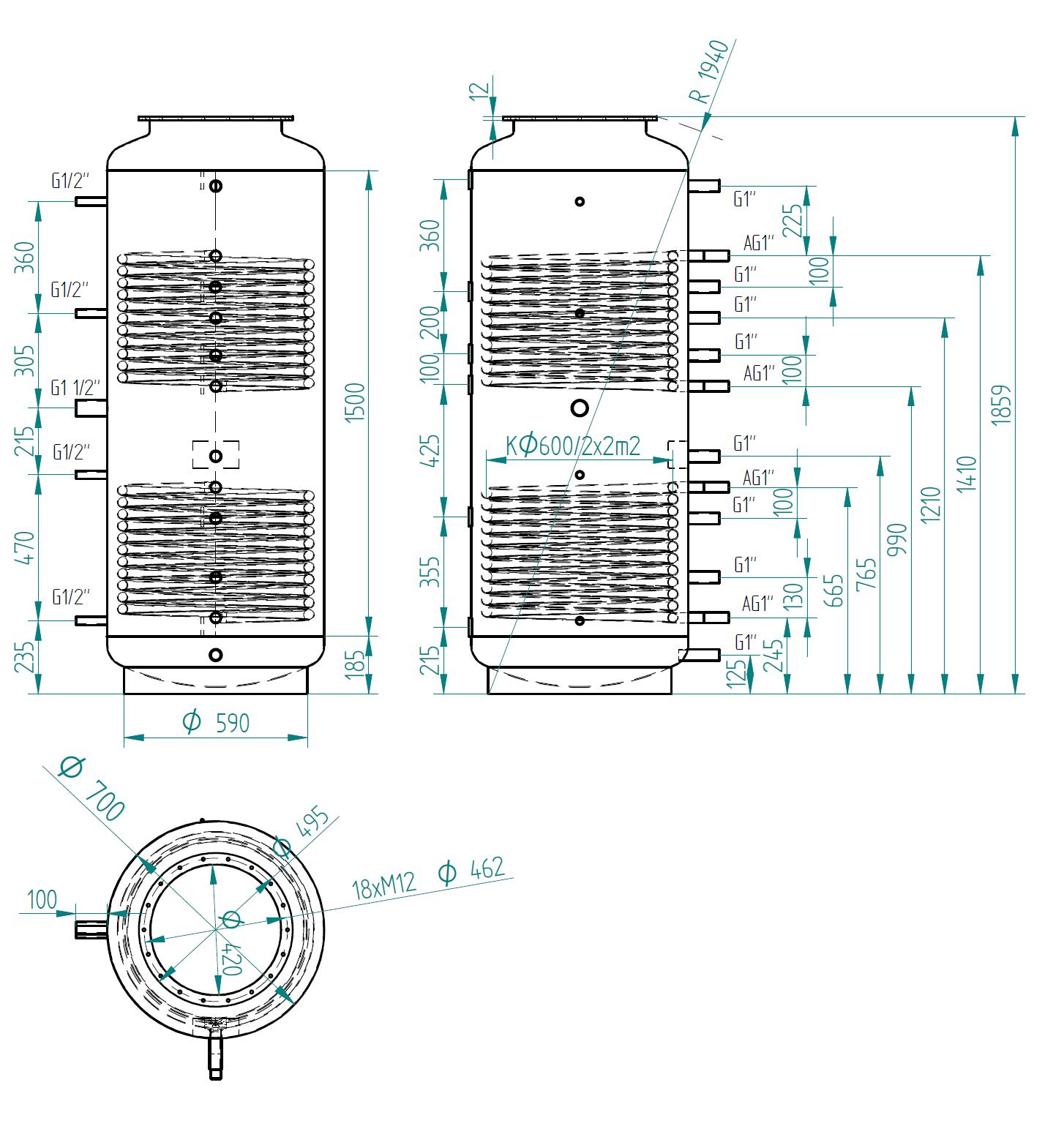 Nákres akumulační nádrže LMT 650l 2V
