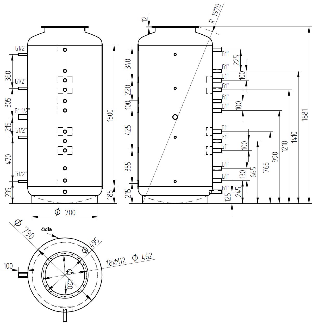 Nákres akumulační nádrže LMT 800l 0V