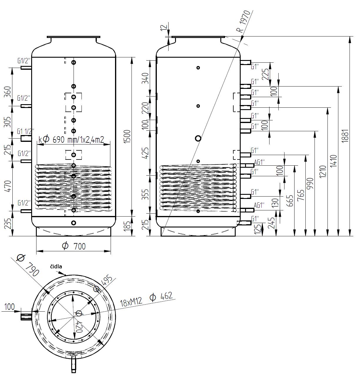 Nákres akumulační nádrže LMT 800l 1V