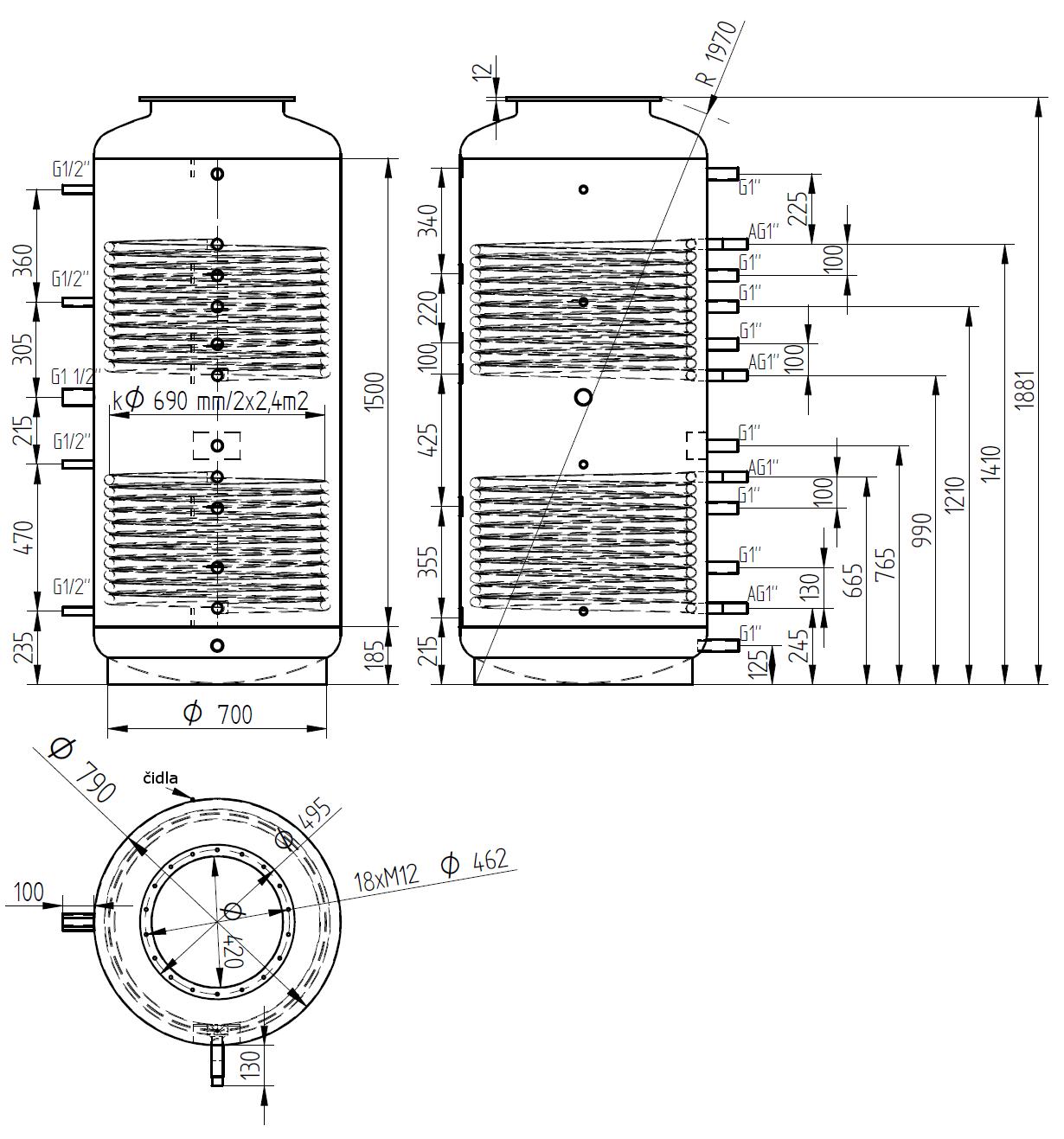 Nákres akumulační nádrže LMT 800l 2V