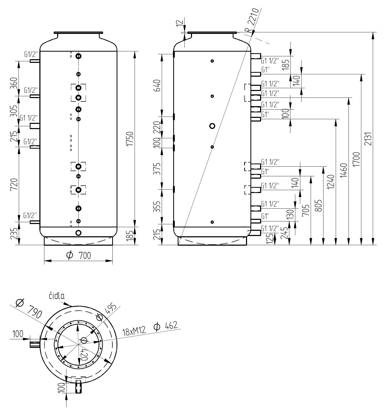 Nákres akumulační nádrže LMT 1000l d790 0V