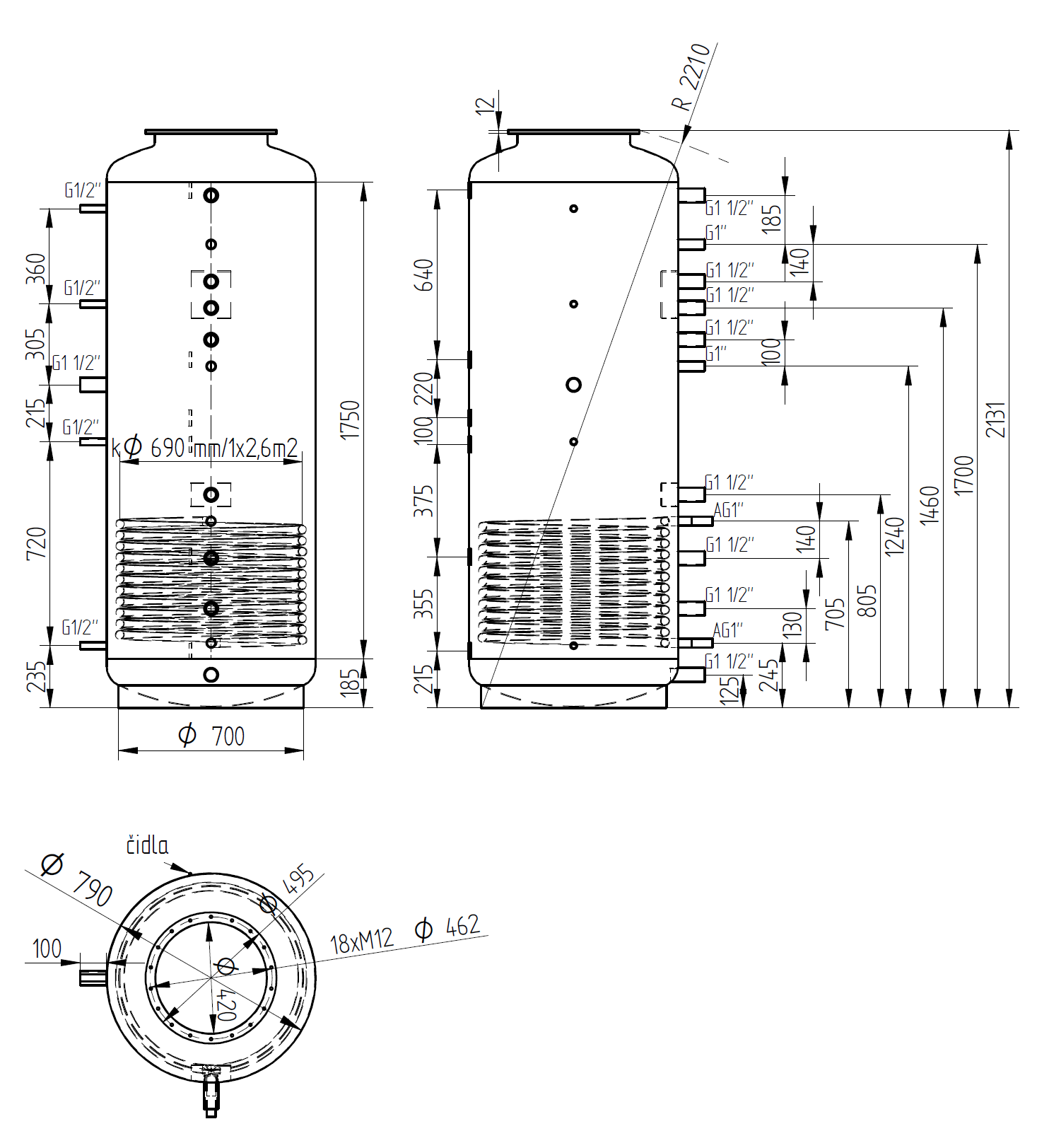 Nákres akumulační nádrže LMT 1000l d790 1V