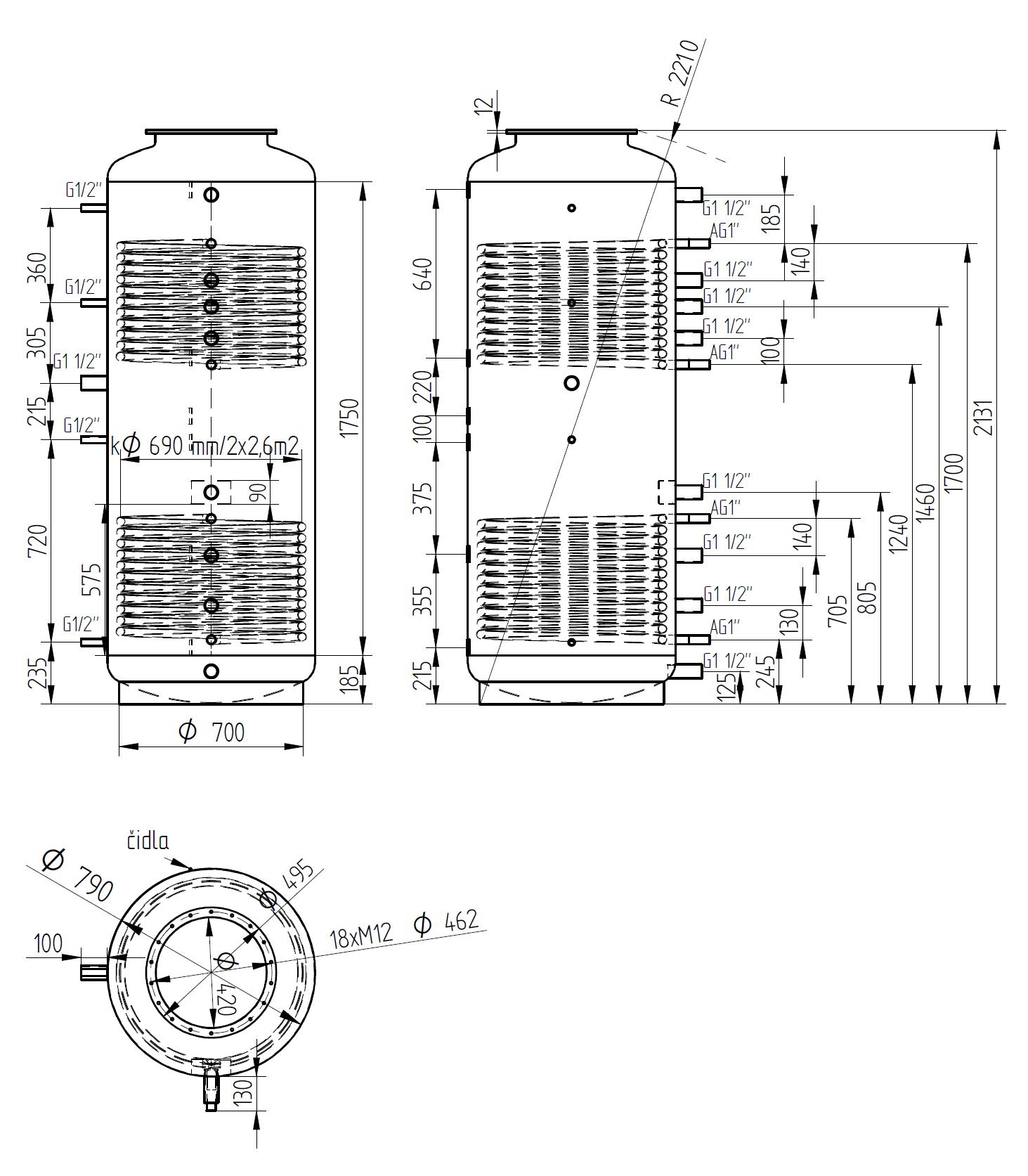 Nákres akumulační nádrže LMT 1000l d790 2V