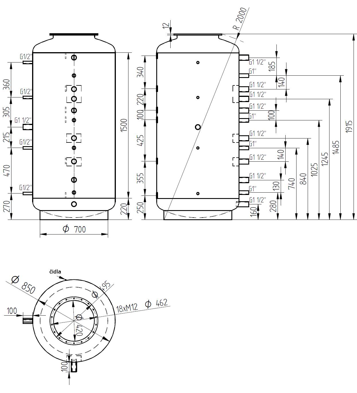 Nákres akumulační nádrže LMT 1000l d850 0V