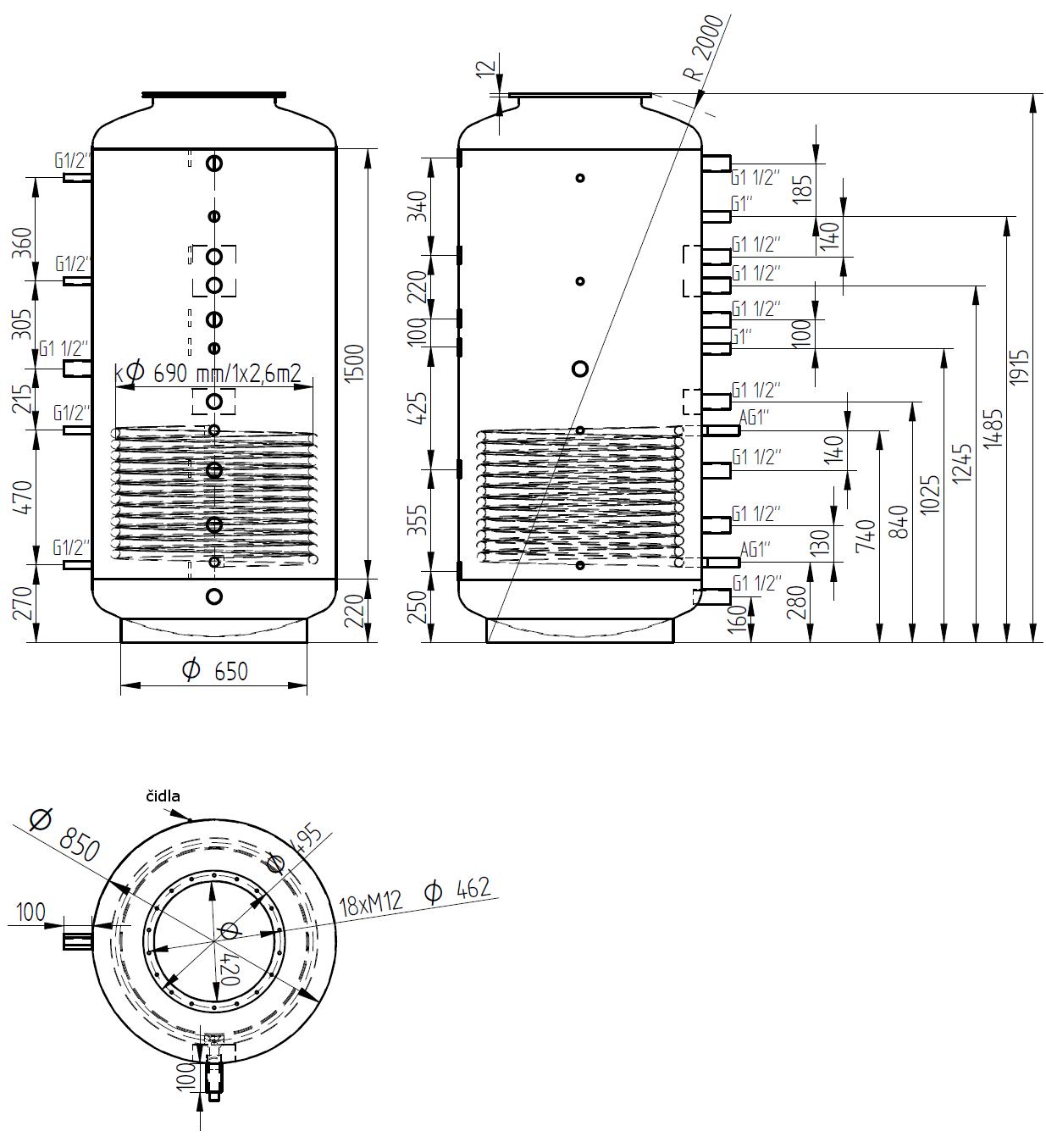 Nákres akumulační nádrže LMT 1000l d850 1V