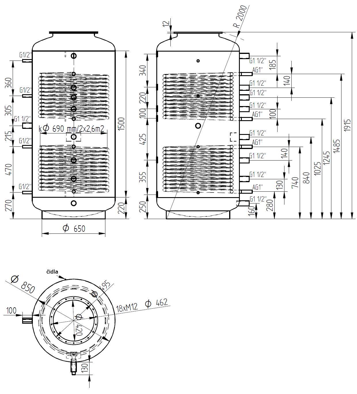 Nákres akumulační nádrže LMT 1000l d850 2V