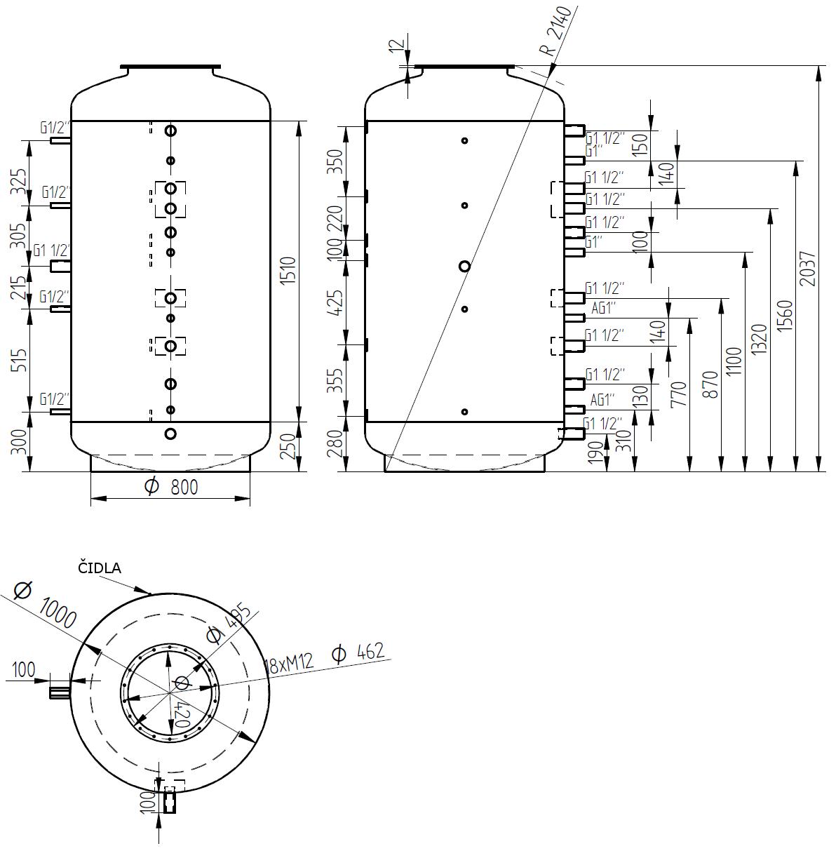 Nákres akumulační nádrže LMT 1500l d1000 0V