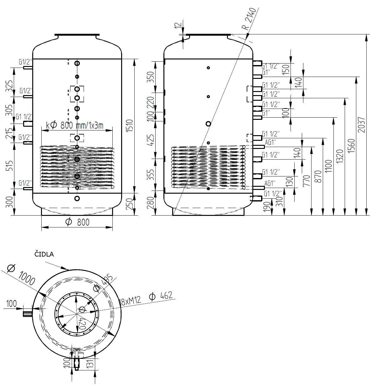 Nákres akumulační nádrže LMT 1500l d1000 1V