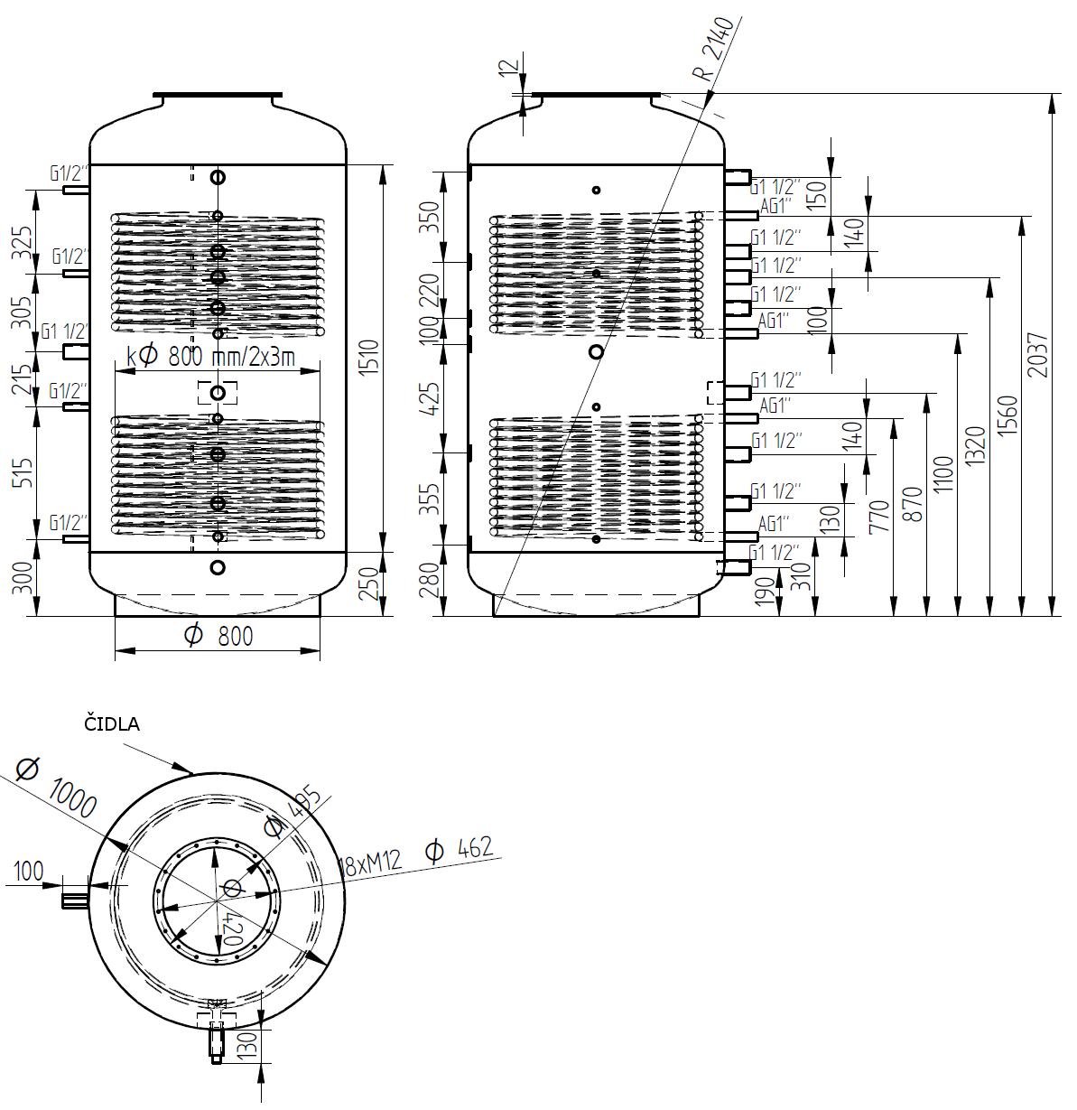 Nákres akumulační nádrže LMT 1500l d1000 2V