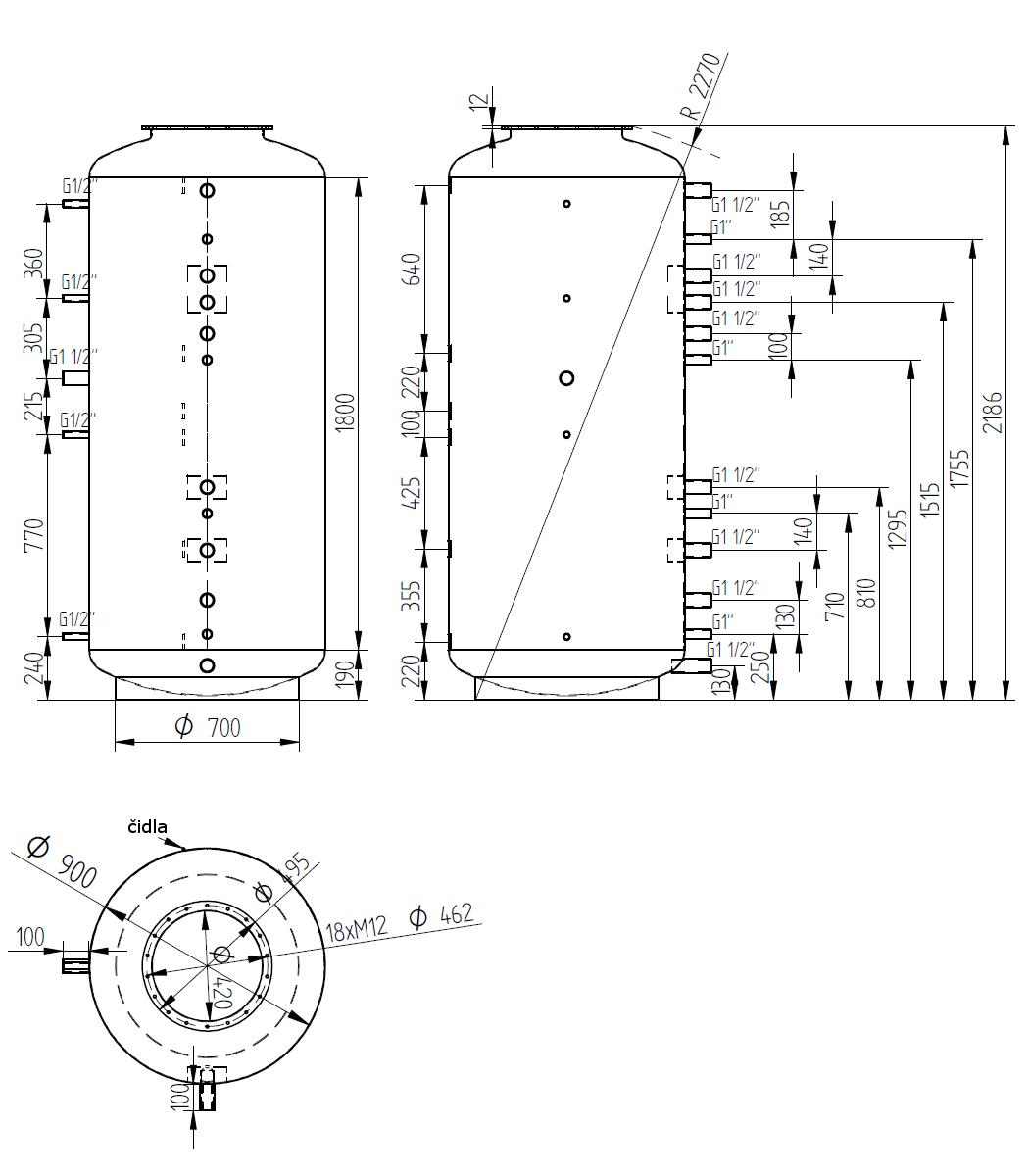 Nákres akumulační nádrže LMT 1500l d900 0V