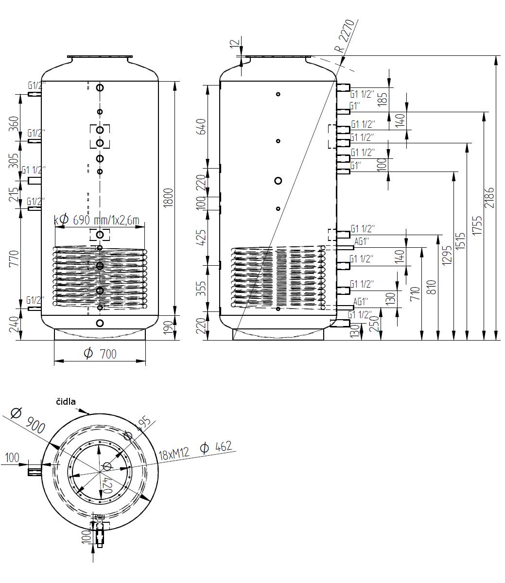 Nákres akumulační nádrže LMT 1500l d900 1V