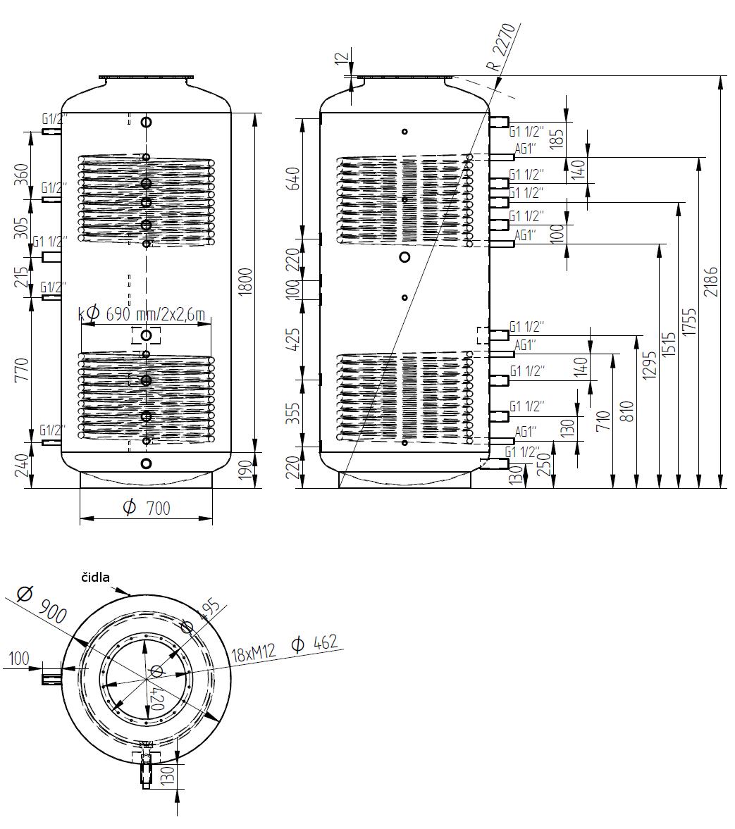 Nákres akumulační nádrže LMT 1500l d900 2V