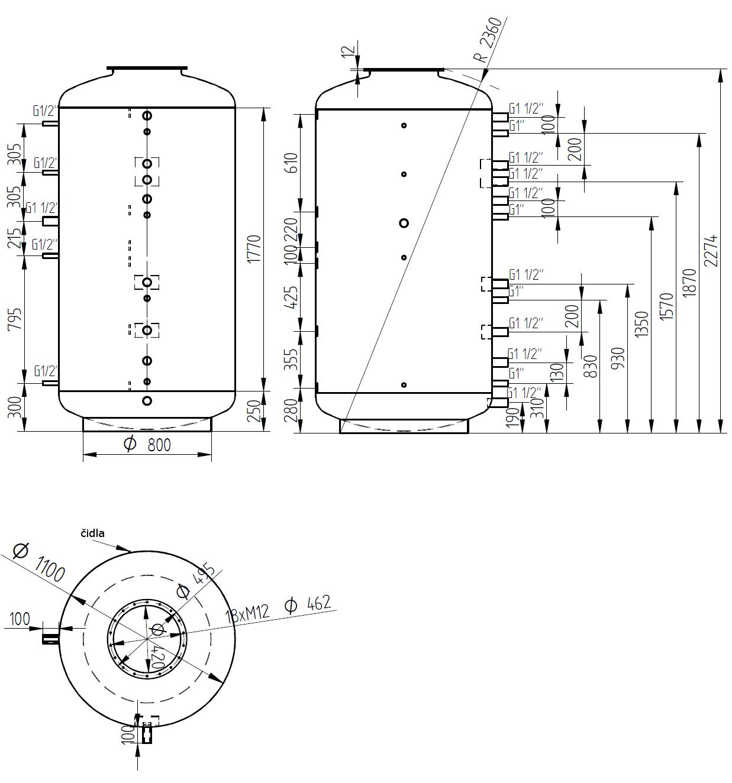 Nákres akumulační nádrže LMT 2000l 0V