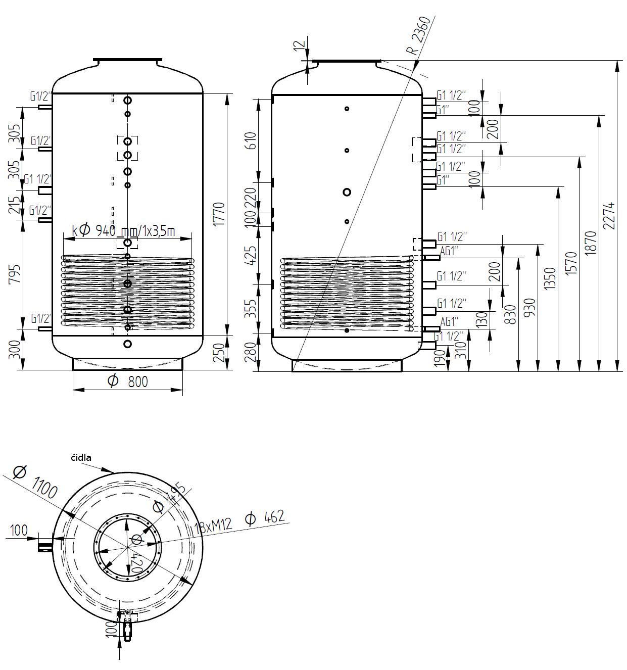Nákres akumulační nádrže LMT 2000l 1V