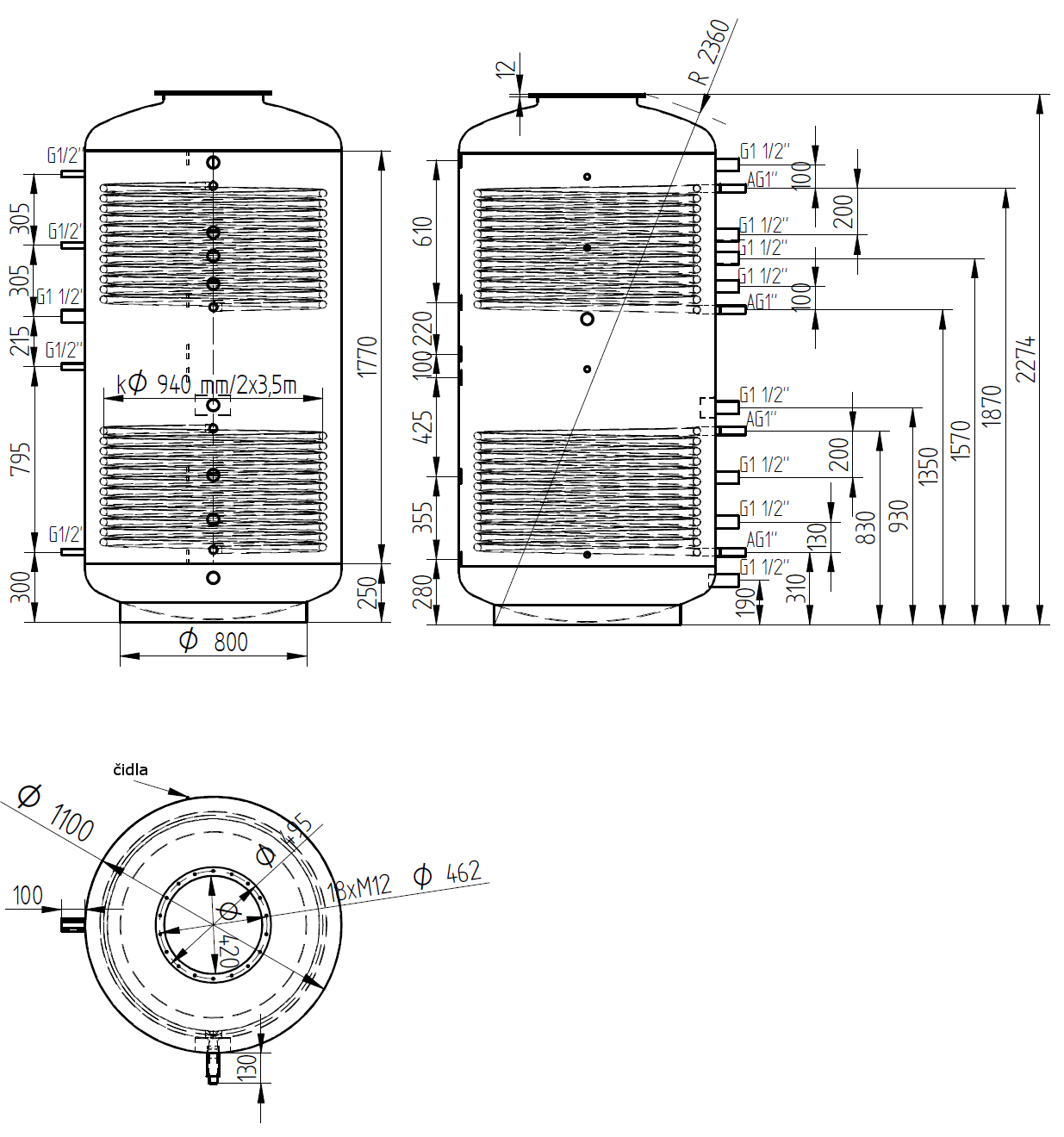 Nákres akumulační nádrže LMT 2000l 2V