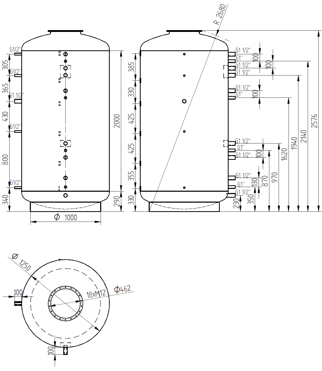Nákres akumulační nádrže LMT 3000l 0V