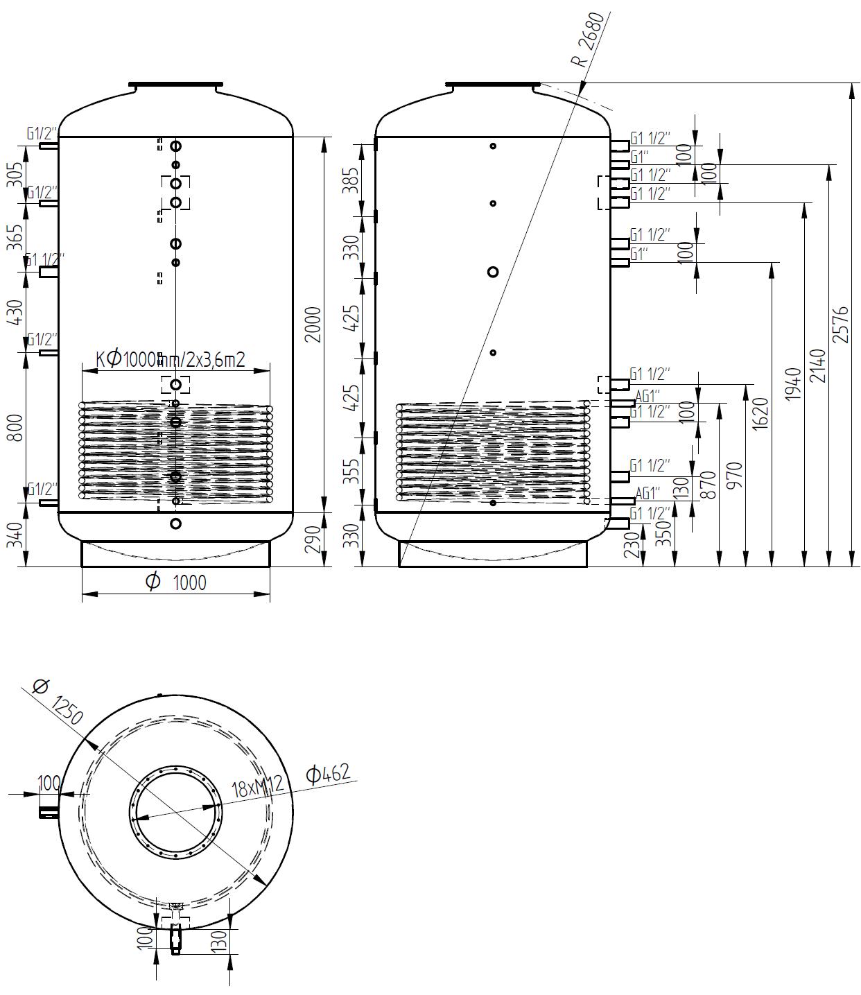Nákres akumulační nádrže LMT 3000l 1V