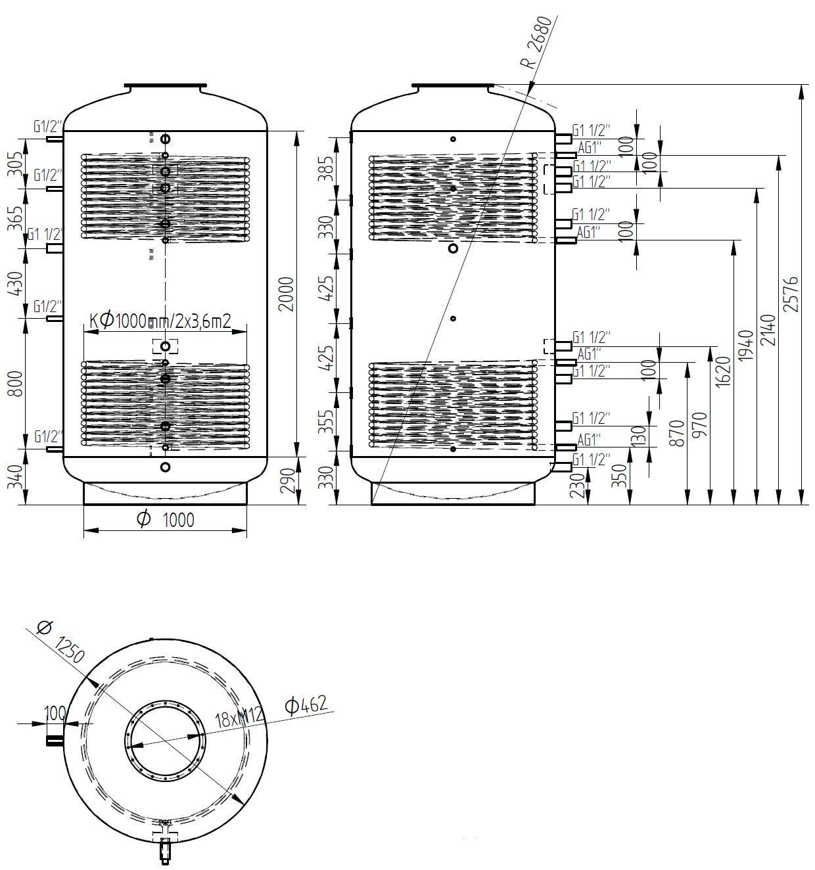Nákres akumulační nádrže LMT 3000l 2V
