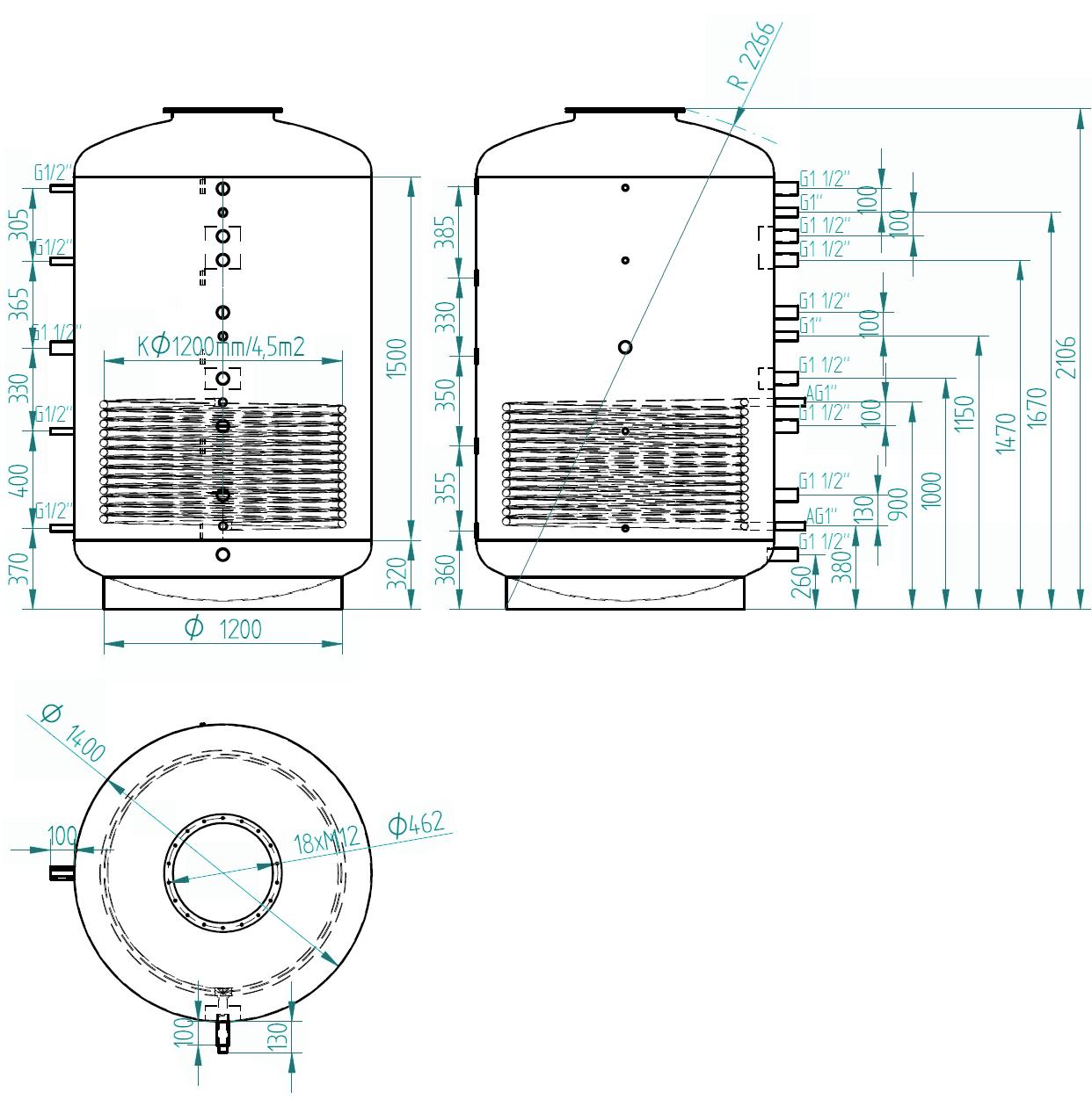 Nákres akumulační nádrže LMT 3000l d1400 1V