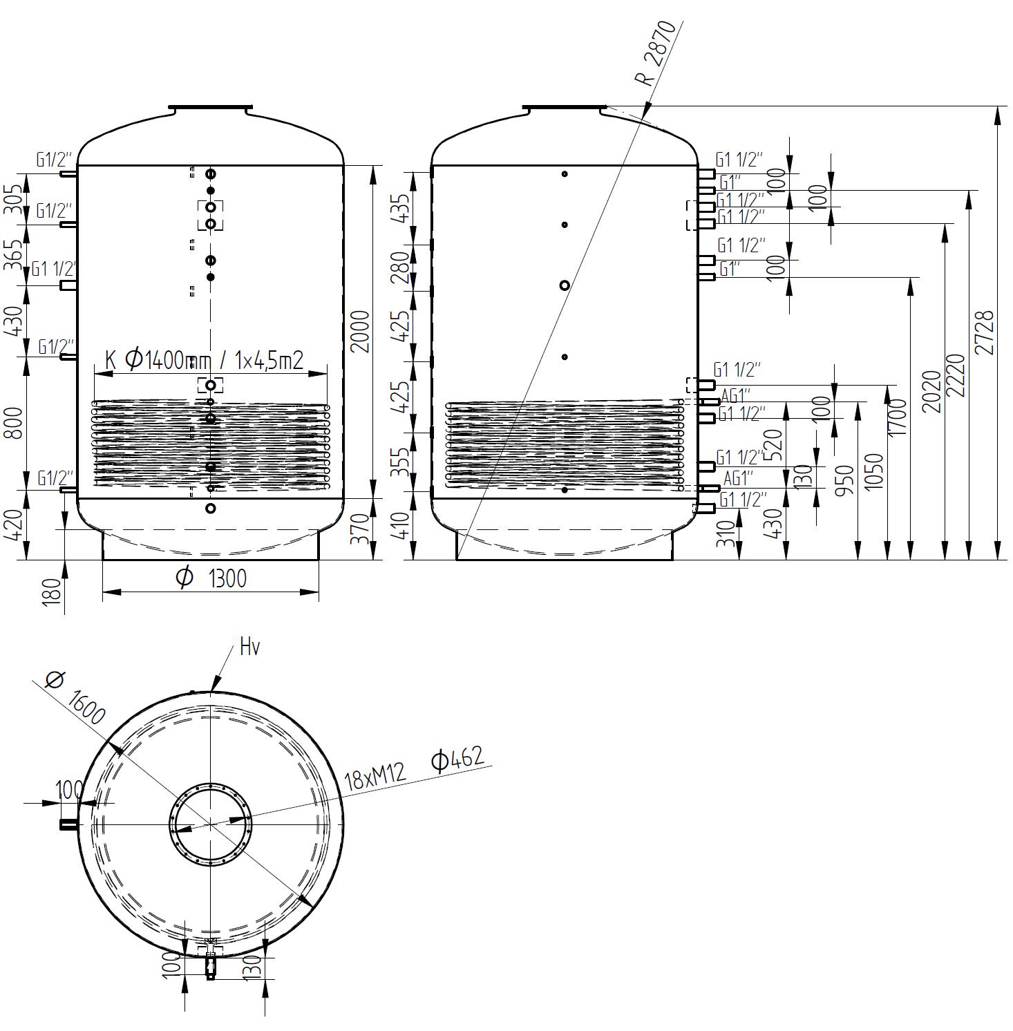 Nákres akumulační nádrže LMT 5000l 1V