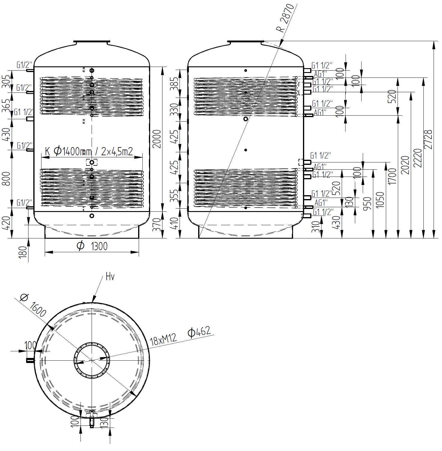 Nákres akumulační nádrže LMT 5000l 2V