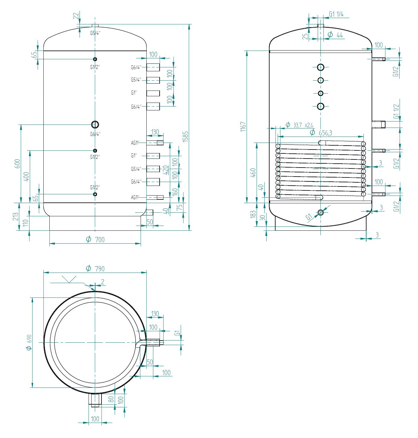 Nízká akumulační nádrž 750l s výměníkem