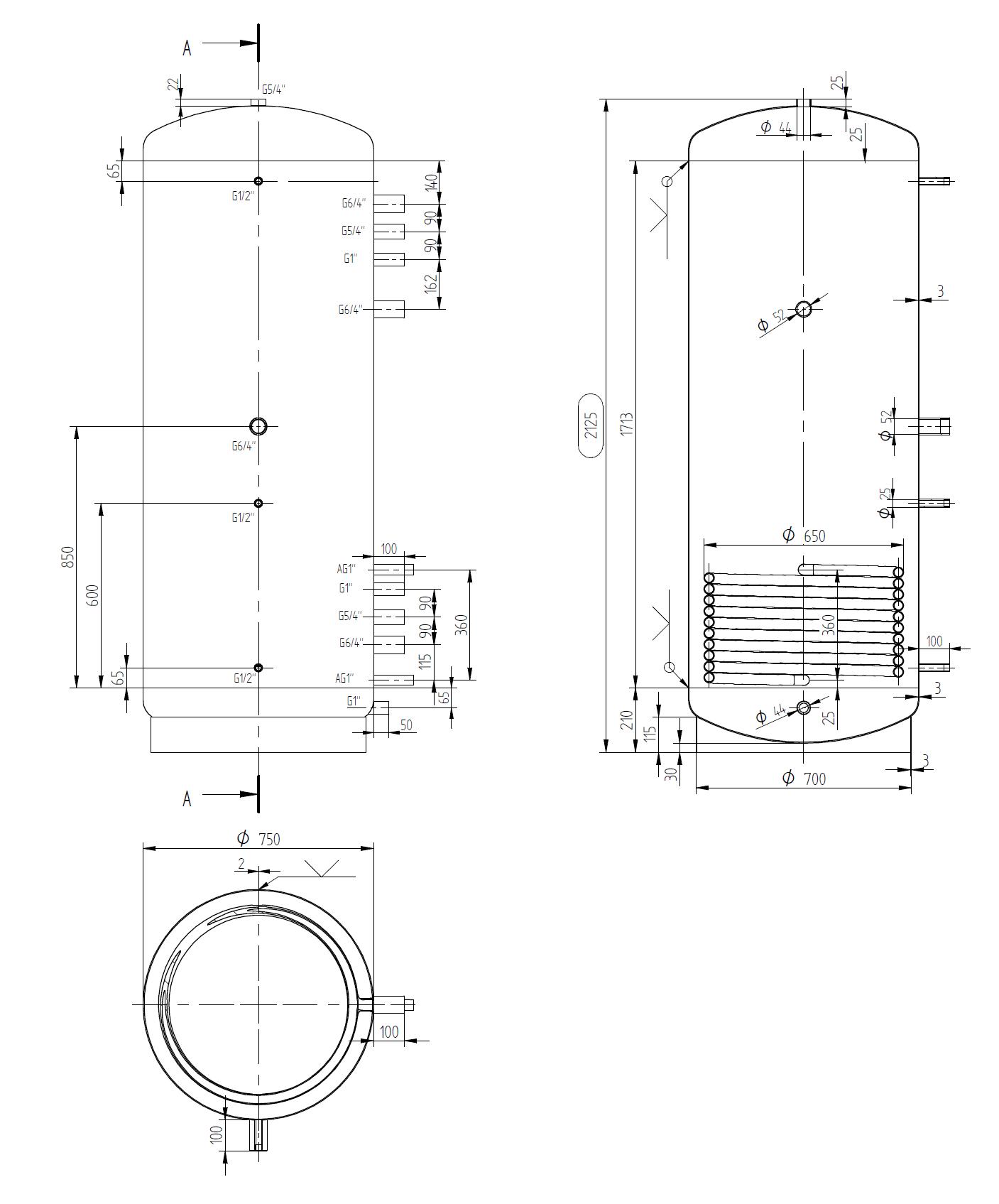 Úzká akumulační nádrž 900l s výměníkem