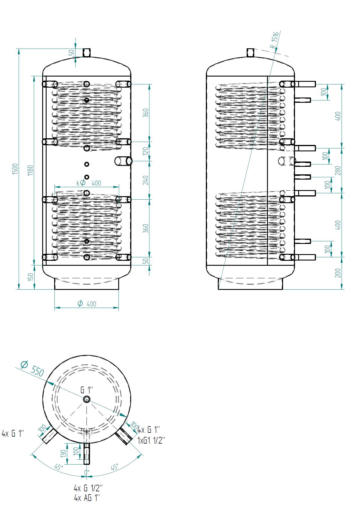 Akumulační nádrž 300l se 2 výměníky