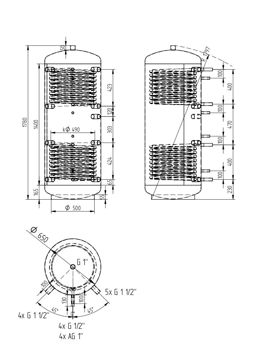 Akumulační nádrž 500l se 2 výměníky